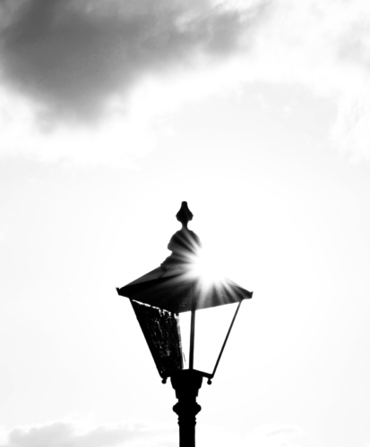 Sun shining through an old lamp in Whibty