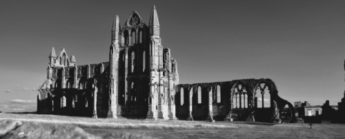 Gothic black and white Whitby Abbey