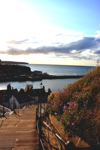 View out to sea on the famous Whitby steps
